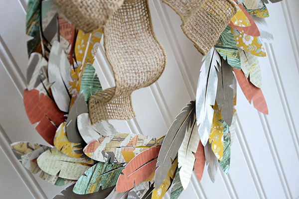 Paper Feather Wreath by Aly Dosdall_close