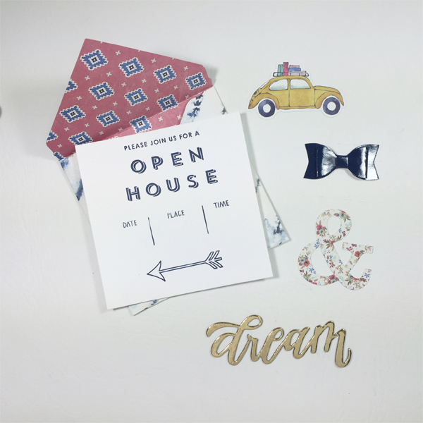 Letterspress Open House Invite by designer Aimee Maddern for We R Memory Keepers