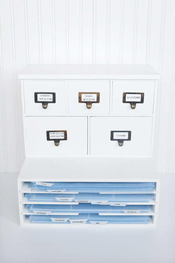 We R Memory Keepers Albums Made Easy Cabinet and Shelves by designer Aly Dosdall. #wermemorykeepers #storage #organization #projectlife