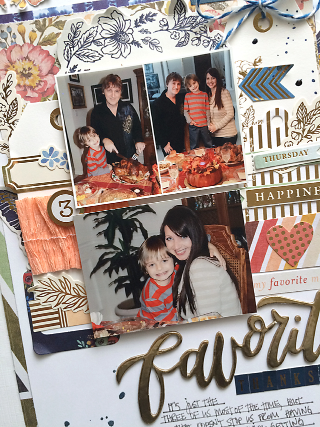 Favorite Thanksgiving layout close up 2 by Daniela Dobson for We R Memory Keepers #scrapbooklayout #thanksgiving #wildflower