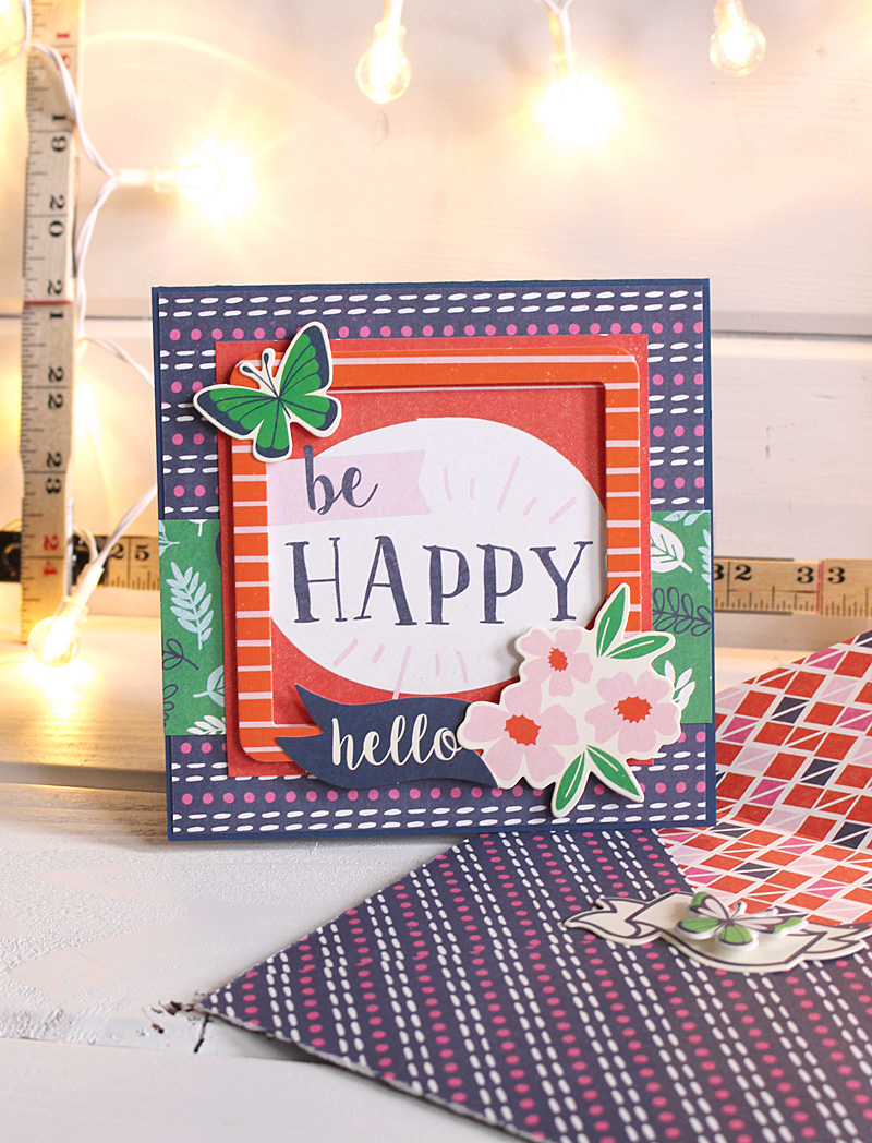 Be Happy card by Kimberly Crawford for We R Memory Keepers featuring the Flower Girl collection.