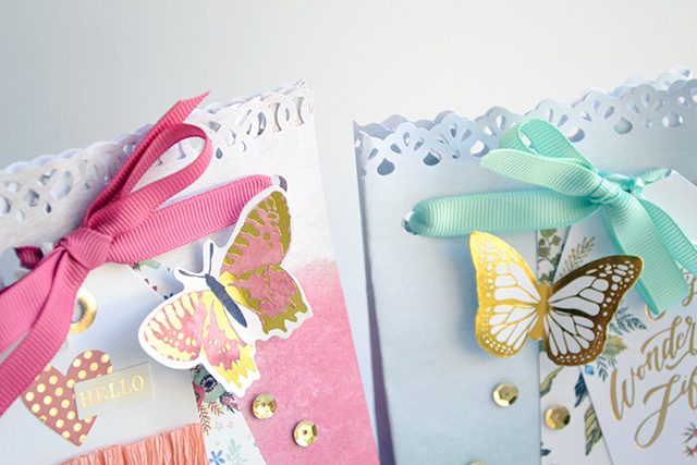 Wildflower Gift Bags with Punched Borders by Aly Dosdall
