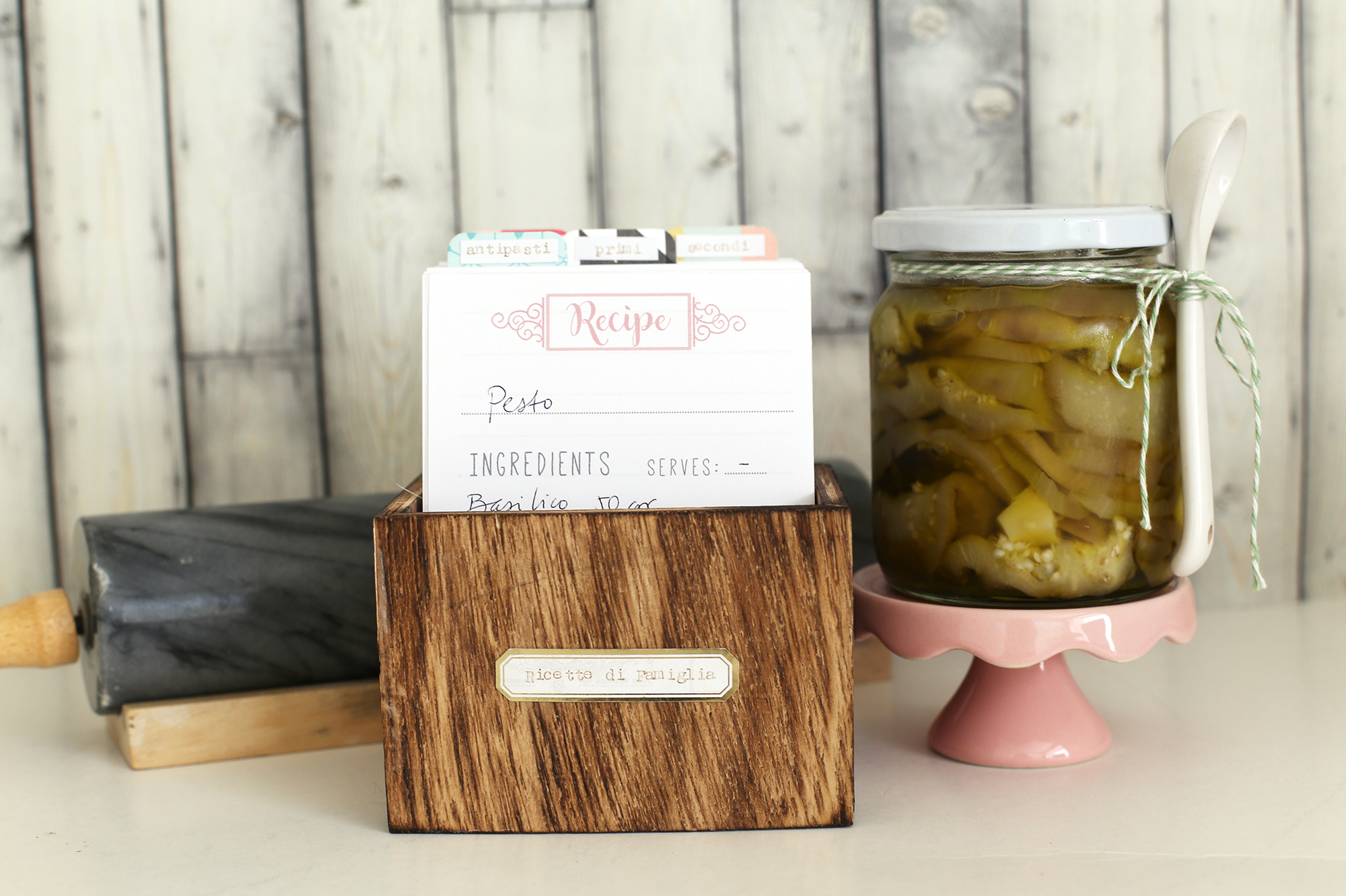 Tab Punch Board recipe box by Eva Pizarro for We R Memory Keepers