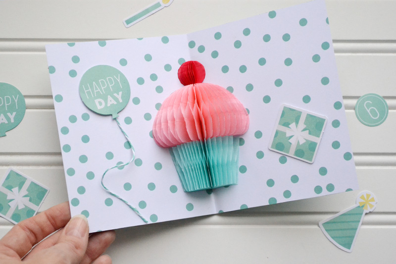 Honeycomb Cupcake Birthday Card by Aly Dosdall for We R Memory Keepers