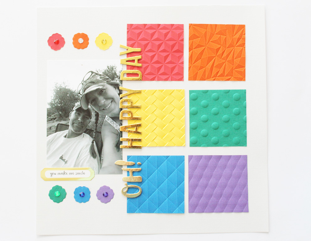 Embossed Scrapbook Layout by Laura Silva for We R Memory Keepers