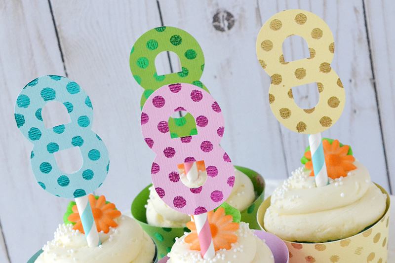 Birthday Cupcake Toppers and Wraps featuring the DIY Party Board and the Mini Alphabet Punch Board by Aly Dosdall for We R Memory Keepers