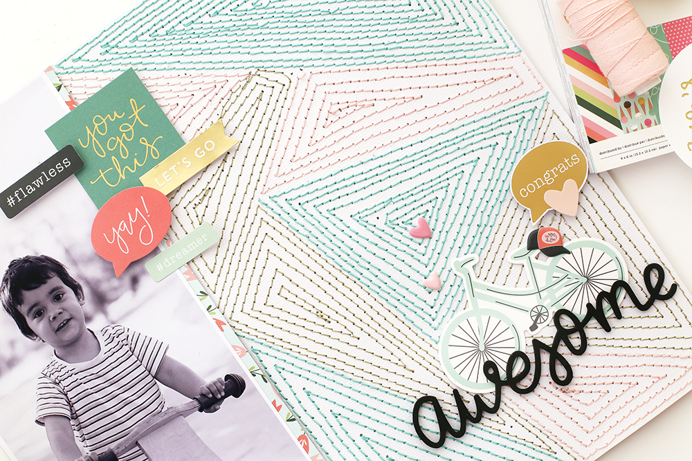 Stitched Background Layout by Eva Pizarro for We R Memory Keepers