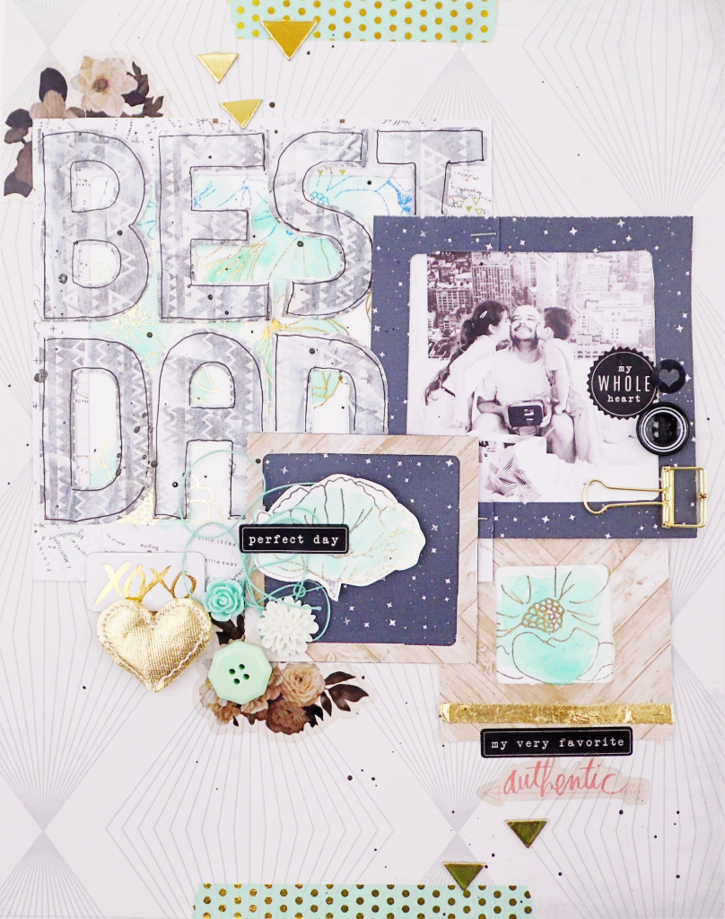 MIxed Media Father's Day Scrapbook Page by Soraya Maes for We R Memory Keepers