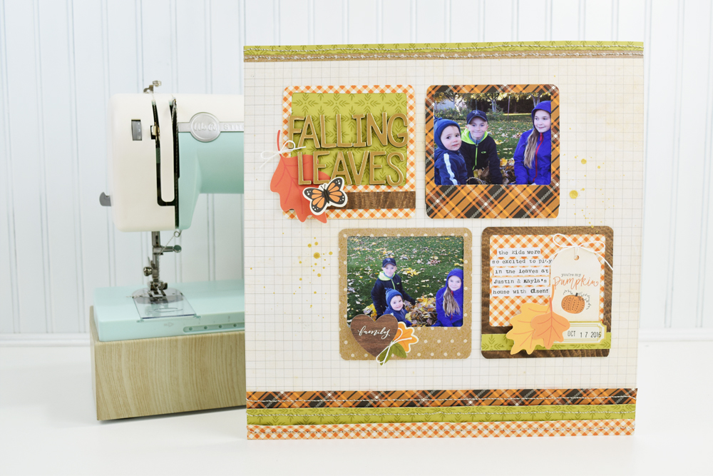 Fall Scrapbook Page by Becki Adams for We R Memory Keepers featuring the Stitch Happy and the Frame Punch Board
