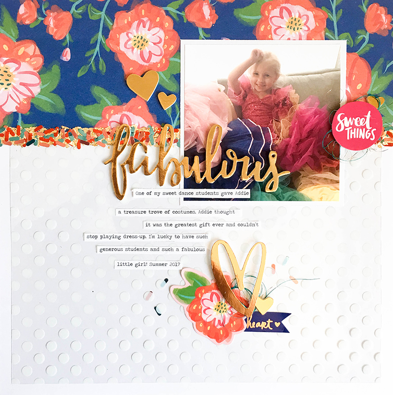 Scrapbook page featuring the Sprinkle Punch by Tessa Buys for We R Memory Keepers