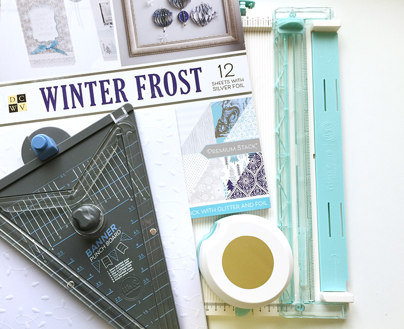 Banner Punch Board, Trim and Score Board, Clear Cut Circle Punch, and DCWV Winter Frost Premium Stack