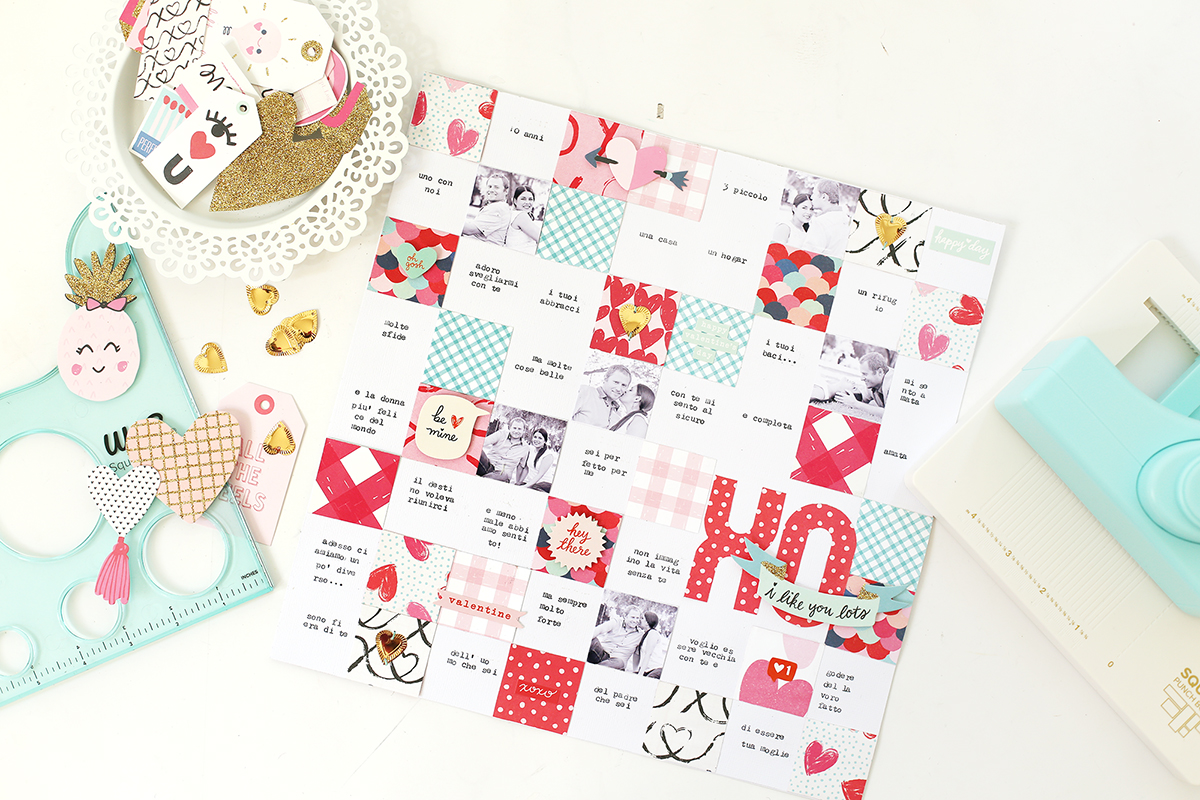 Valentines Day Layout with the Square Punch Board by Eva Pizarro for We R Memory Keepers