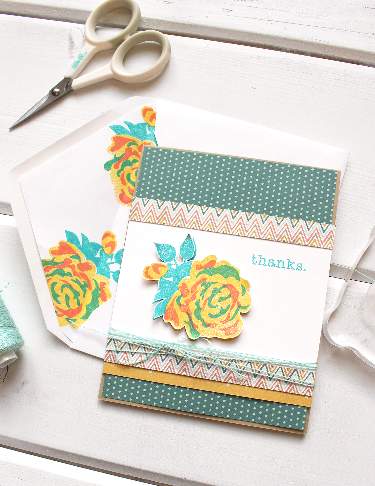 Stamped Card and Envelope by Kimberly Crawford for We R Memory Keepers