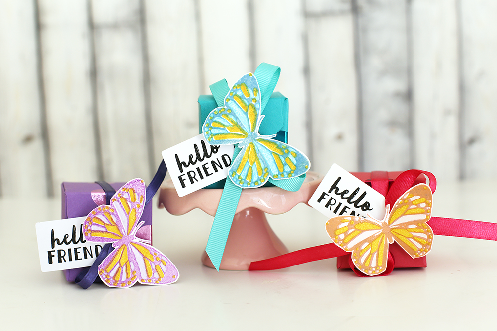 Butterfly Favor Boxes with Layered Stamps by Eva Pizarro for We R Memory Keepers