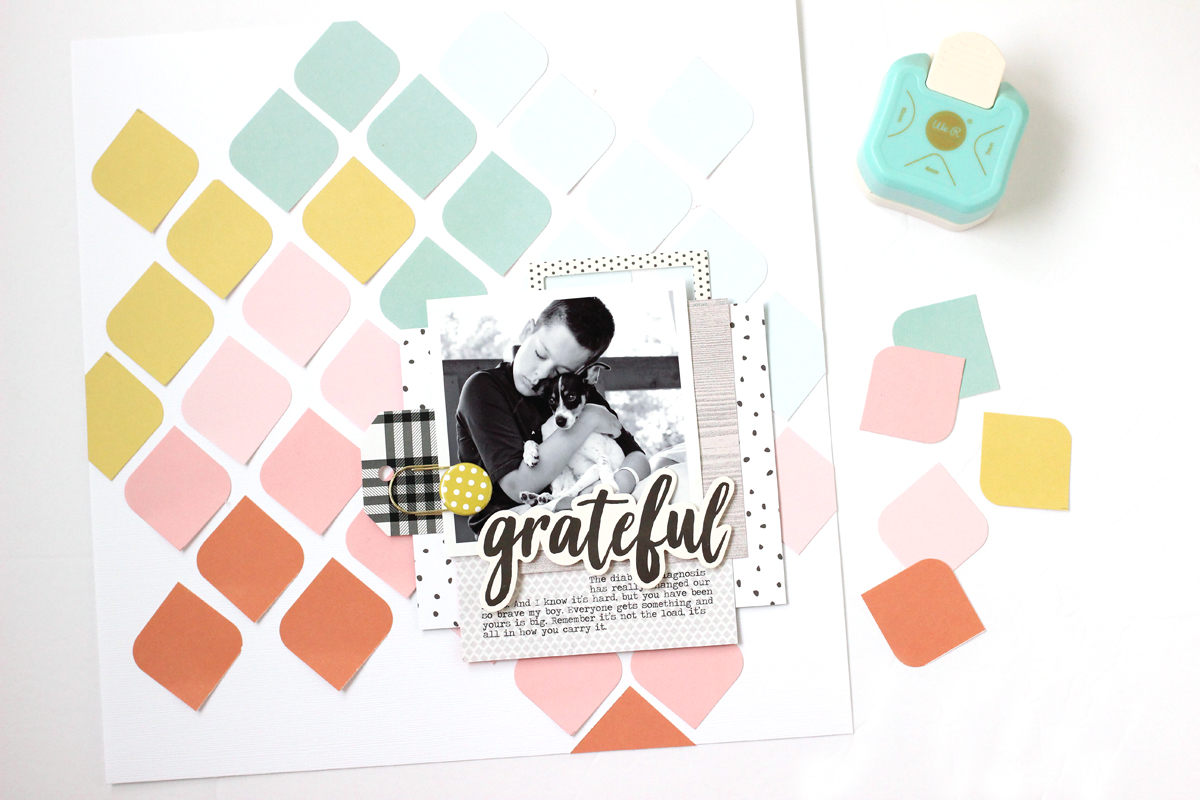 3 Way Corner Punch Scrapbook Page by Nancy Damiano for We R Memory Keepers