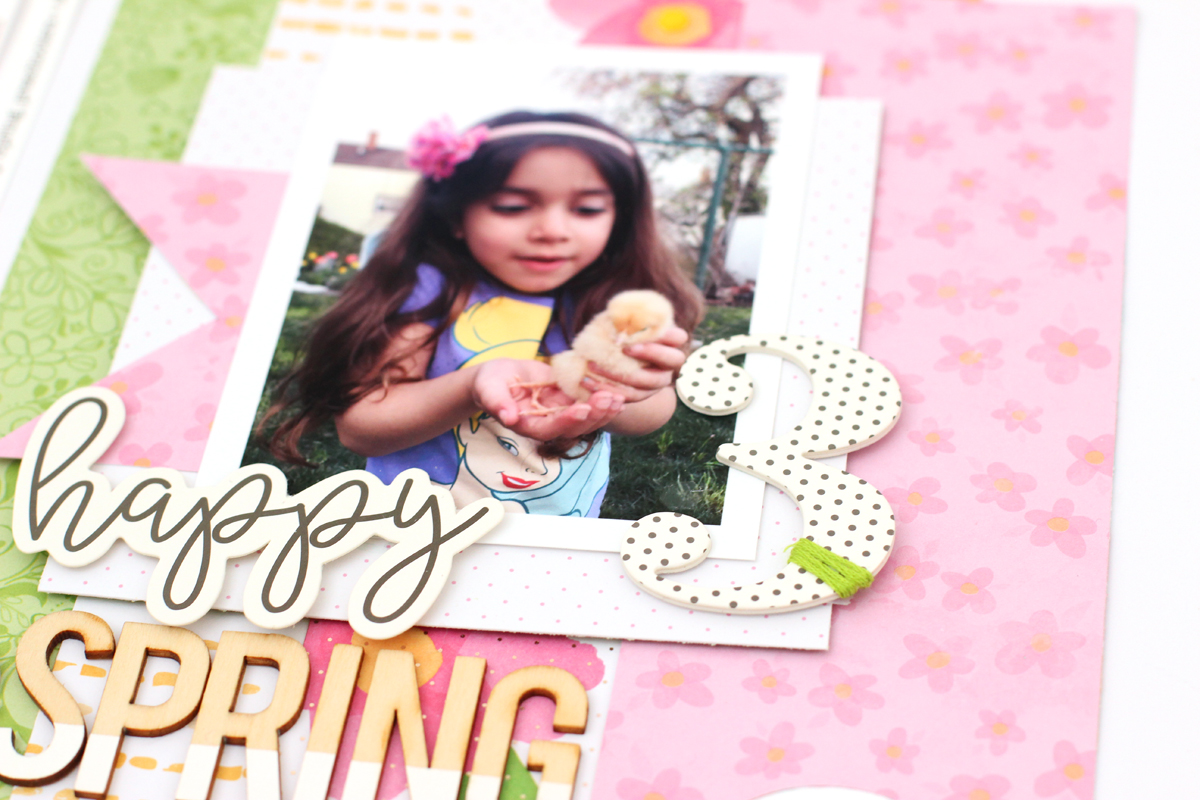 Spring Scrapbook Page by Nancy Damiano for We R Memory Keepers