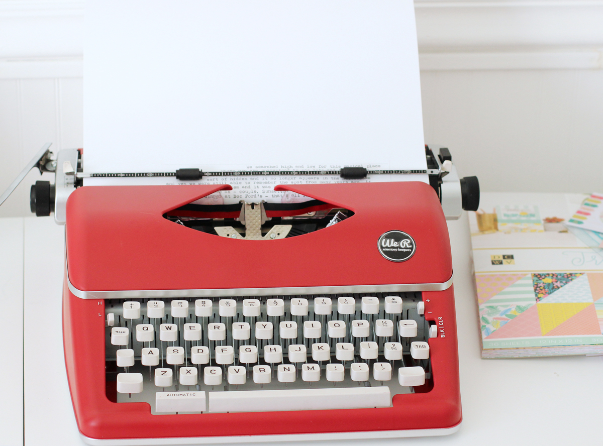 Scrapbook Page with the Typecast Typewriter by Nancy Damiano for We R Memory Keepers