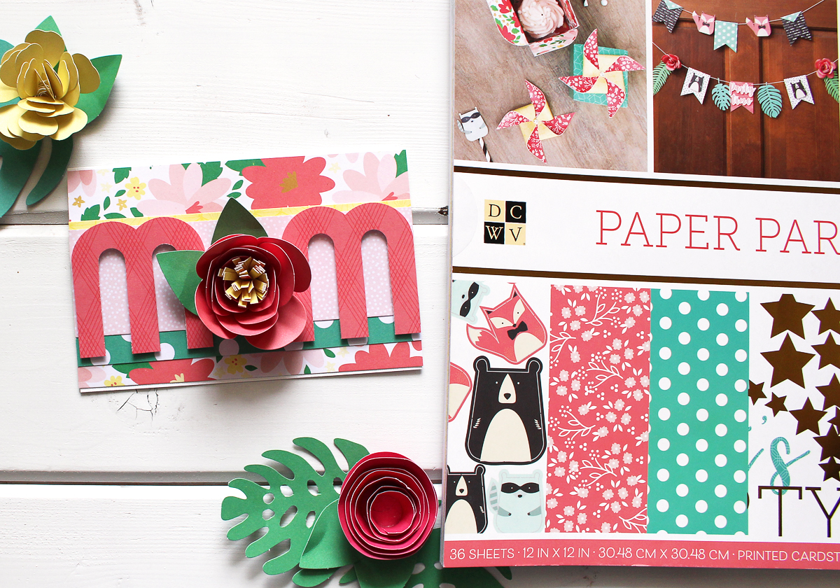 Mother's Day Card by Kimberly Crawford for We R Memory Keepers featuring the Mini Alphabet Punch Board and the DCWV Inc Paper Party Stack