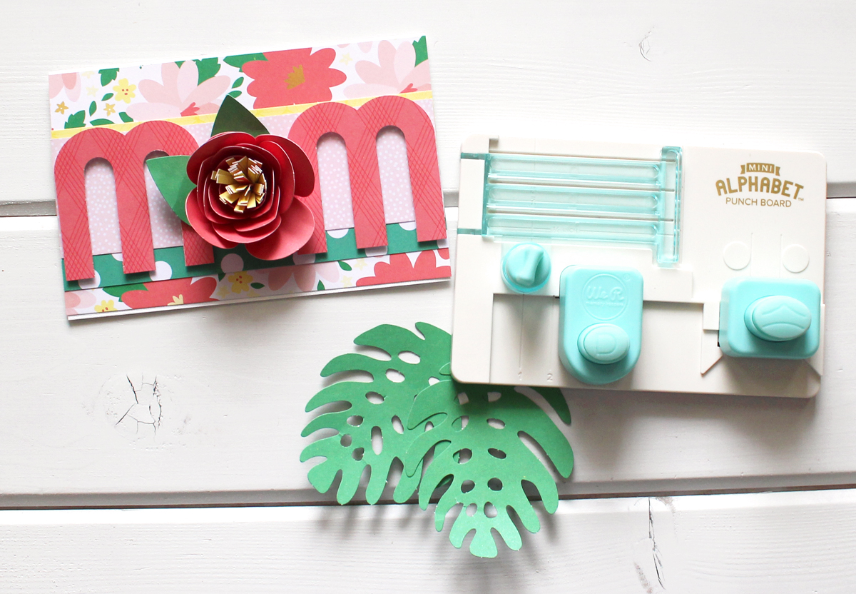 Mother's Day Card by Kimberly Crawford for We R Memory Keepers featuring the Mini Alphabet Punch Board