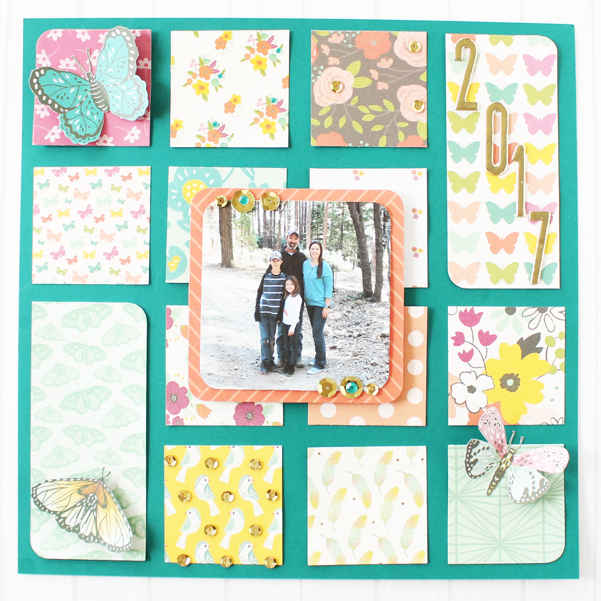 Square Punch Board Scrapbook Page by Laura Silva for We R Memory Keepers