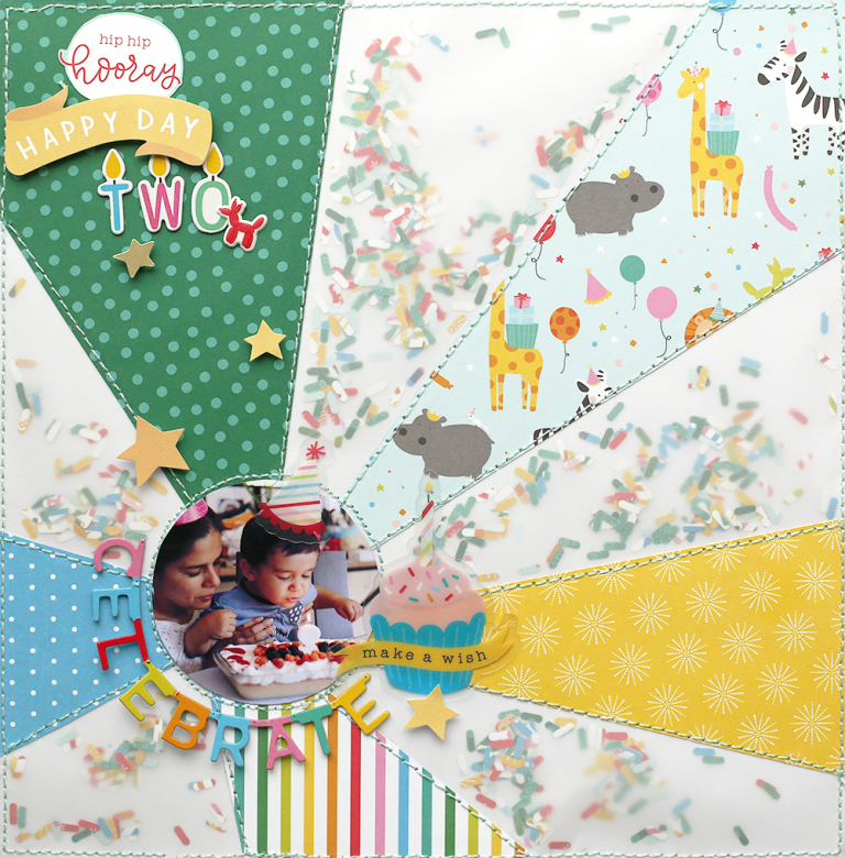 Sprinkle Shaker Pocket Scrapbook Page by Eva Pizarro for We R Memory Keepers