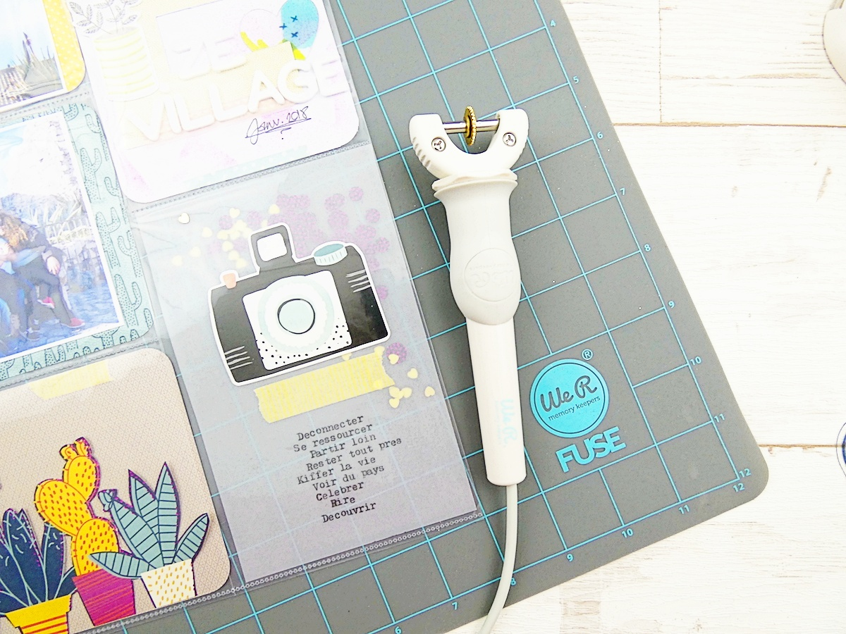 Travel Pocket Page by Soraya Maes by We R Memory Keepers featuring the USB Heat Tools with the Fuse Tip