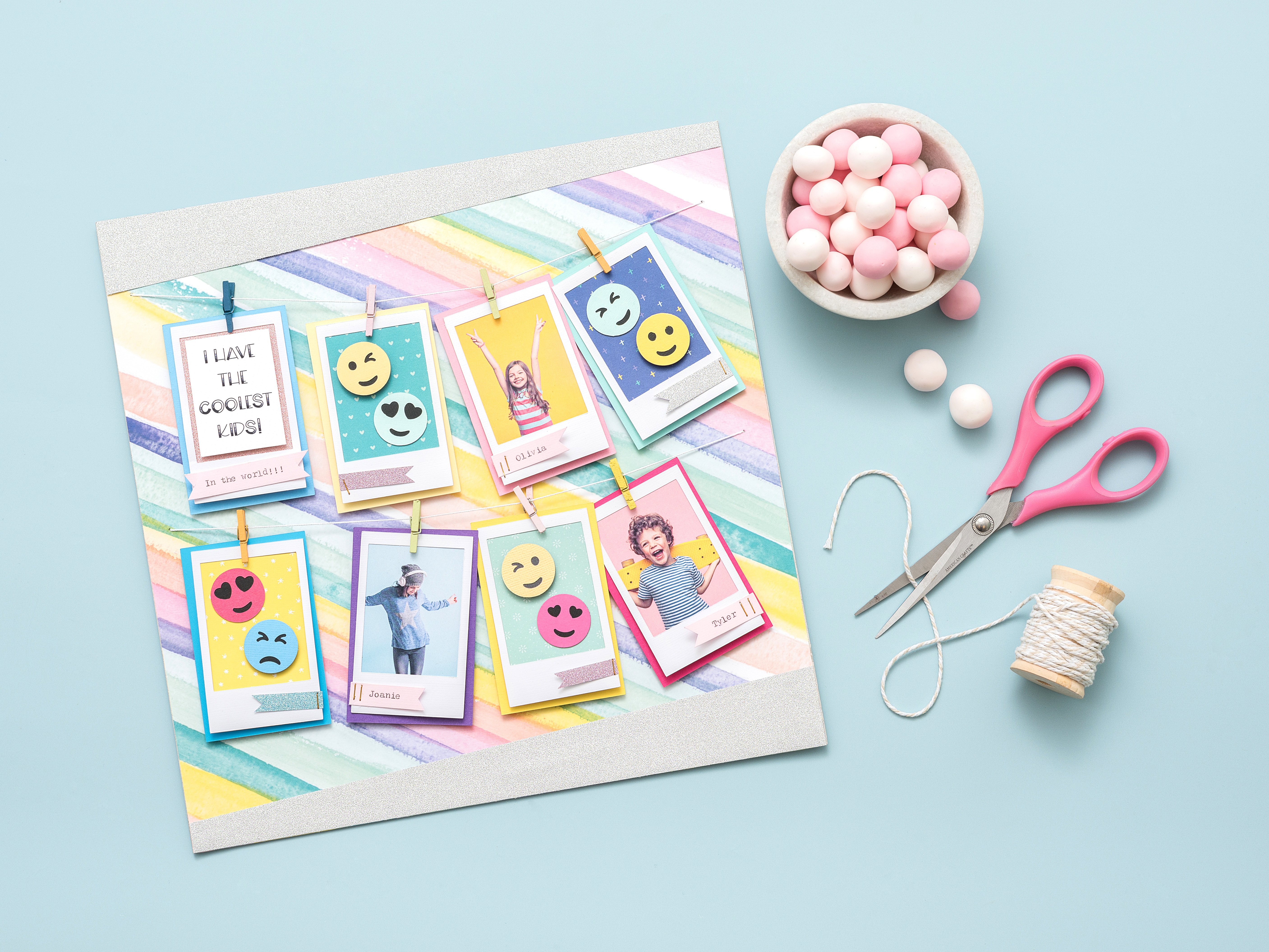 Embellish your scrapbook pages with the Emoji Punch Board by We R Memory Keepers