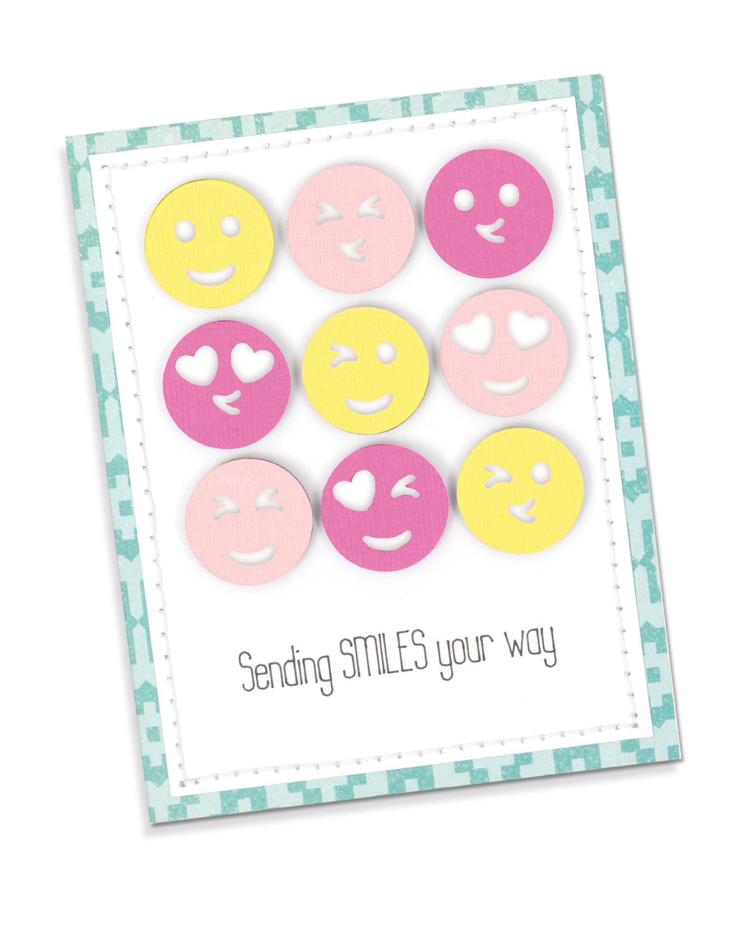 Put a smile on your card recipient's face with custom emojis made with the Emoji Punch Board by We R Memory Keepers