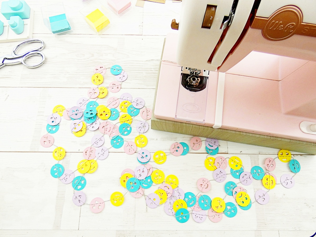 Emoji Punch Board Garland made with the Stitch Happy sewing Machine and the Emoji Punch Board by Soraya Maes for We R Memory Keepers