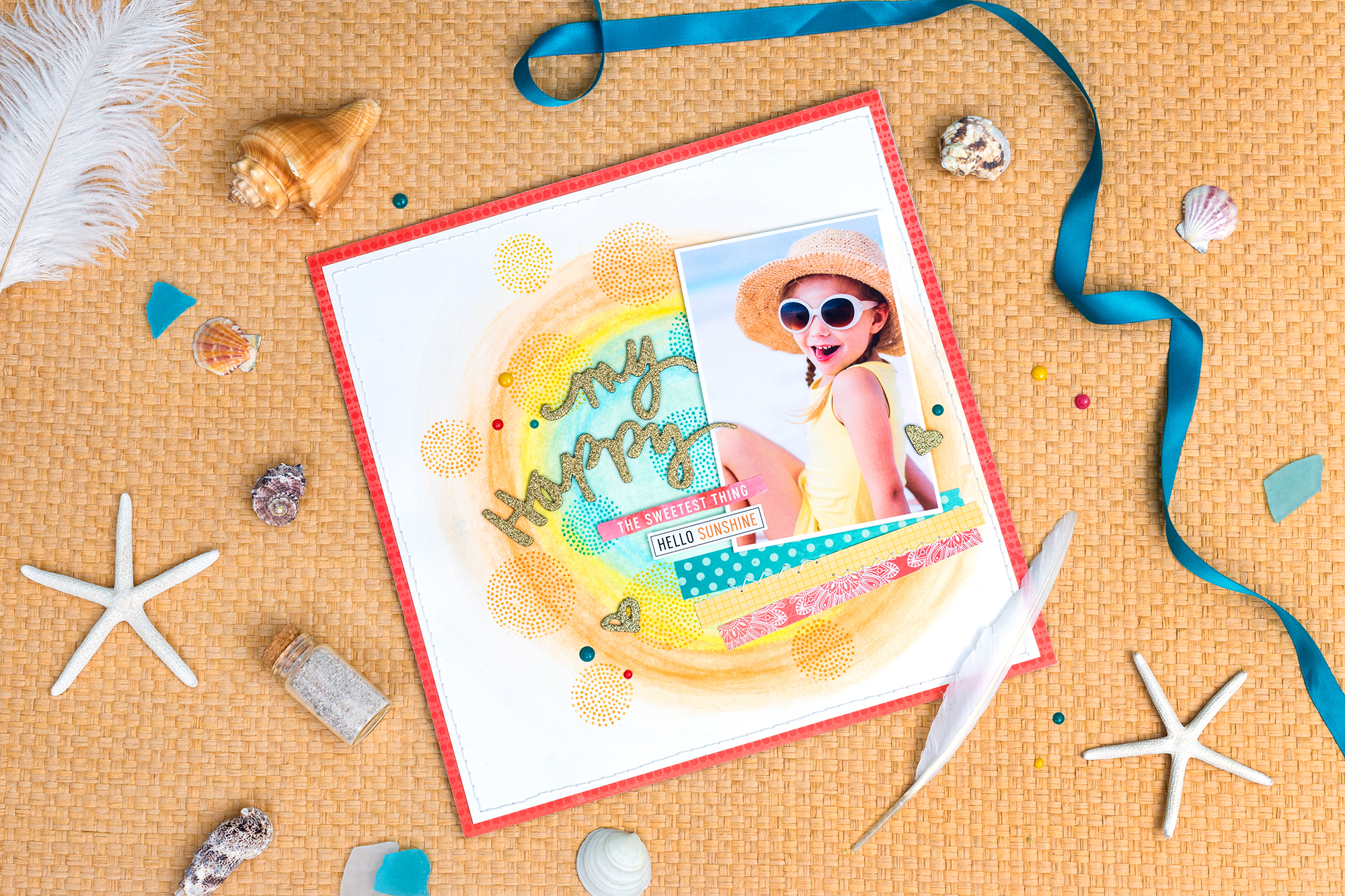 Scrapbook layout featuring the Precision Press Advanced stamping press and Vicki Boutin Art Crayons