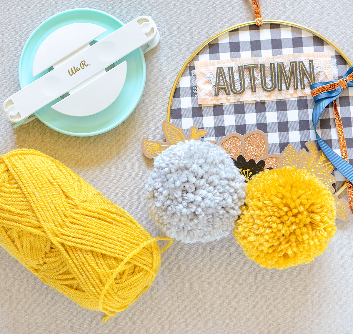 Autumn Hoop by Rebecca Luminaria for We R Memory Keepers featuring the Jumbo Pom Pom Maker