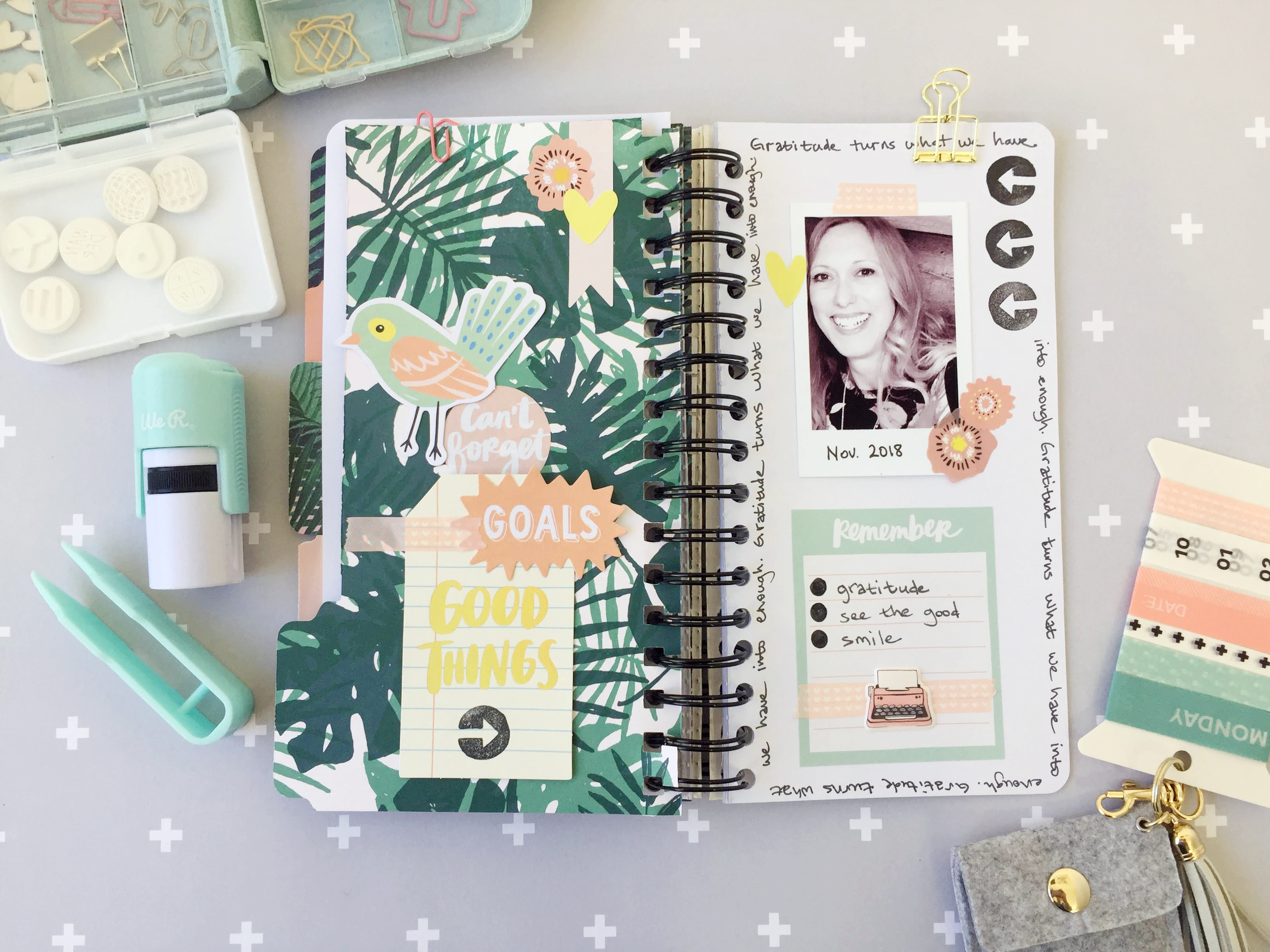 Gratitude Journal by Aly Dosdall for We R Memory Keepers featuring The Cinch, Journal Studio Tools, and Amy Tangerine Journal Studio collection