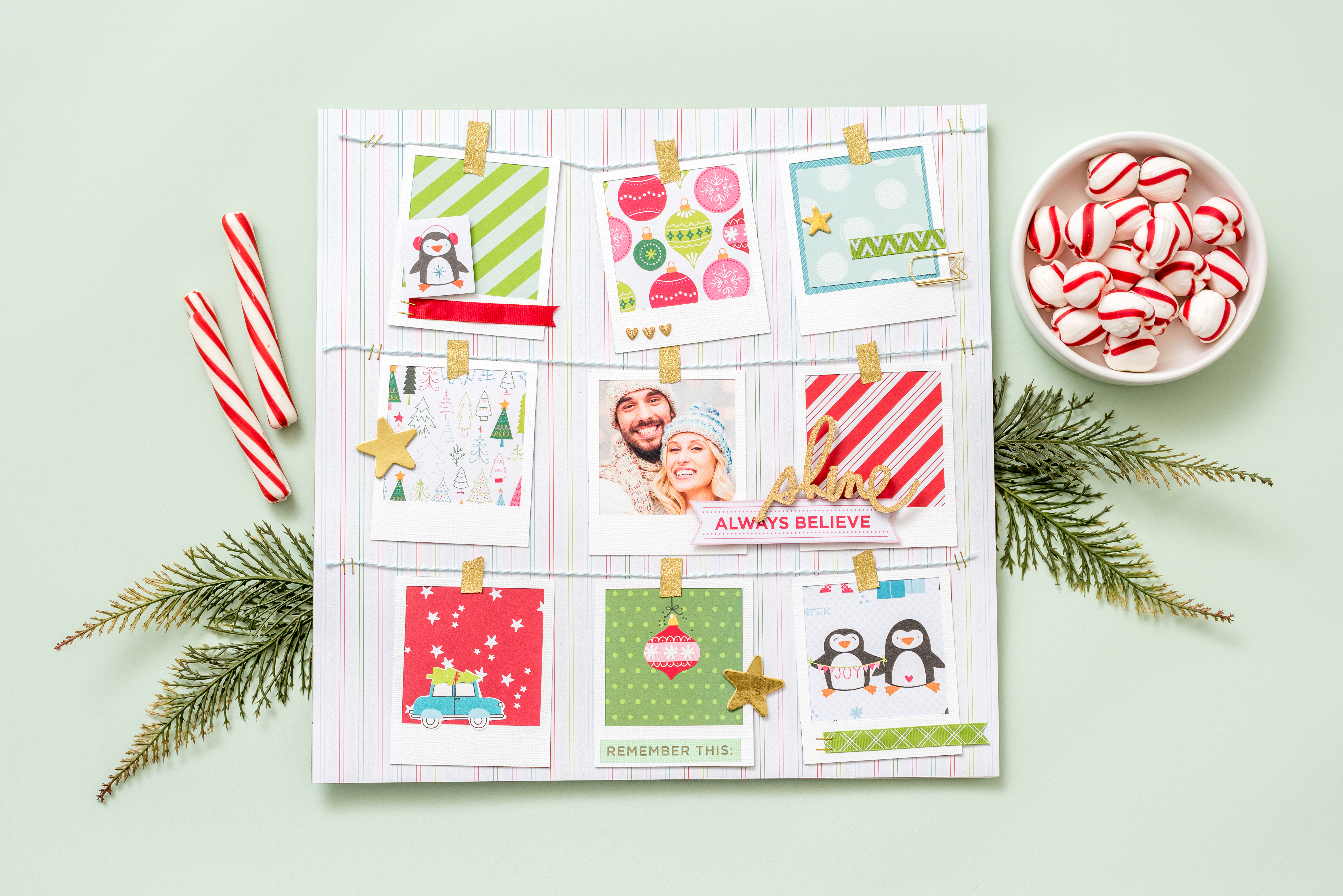 Holiday scrapbook page featuring the We R Memory Keepers Frame Punch Board