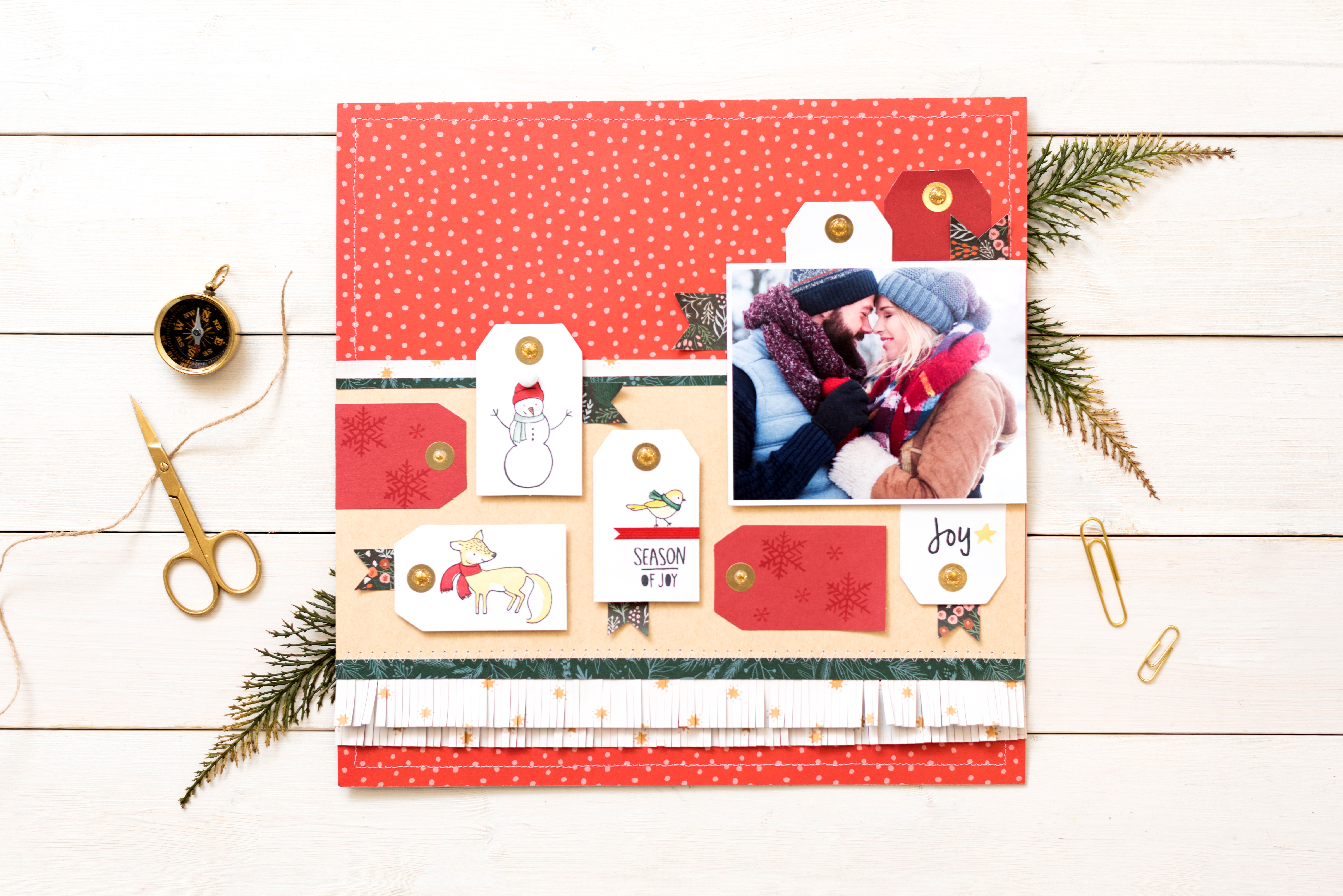 Holiday Scrapbook Page featuring the We R Memory Keepers Precision Press Advanced