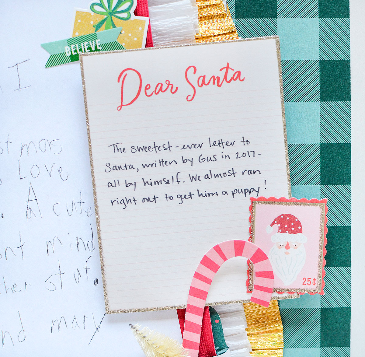 Holiday Themed Scrapbook Page by Rebecca Luminarias for We R Memory Keepers