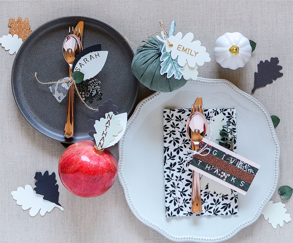 Thanksgiving Placecard Ideas with the Word Punch Board by Rebecca Luminarias for We R Memory Keepers