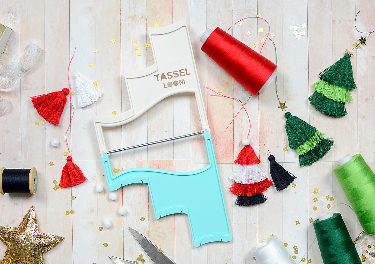 DIY Holiday Ornaments by Rebecca Luminarias for We R Memory Keepers Tassel Loom