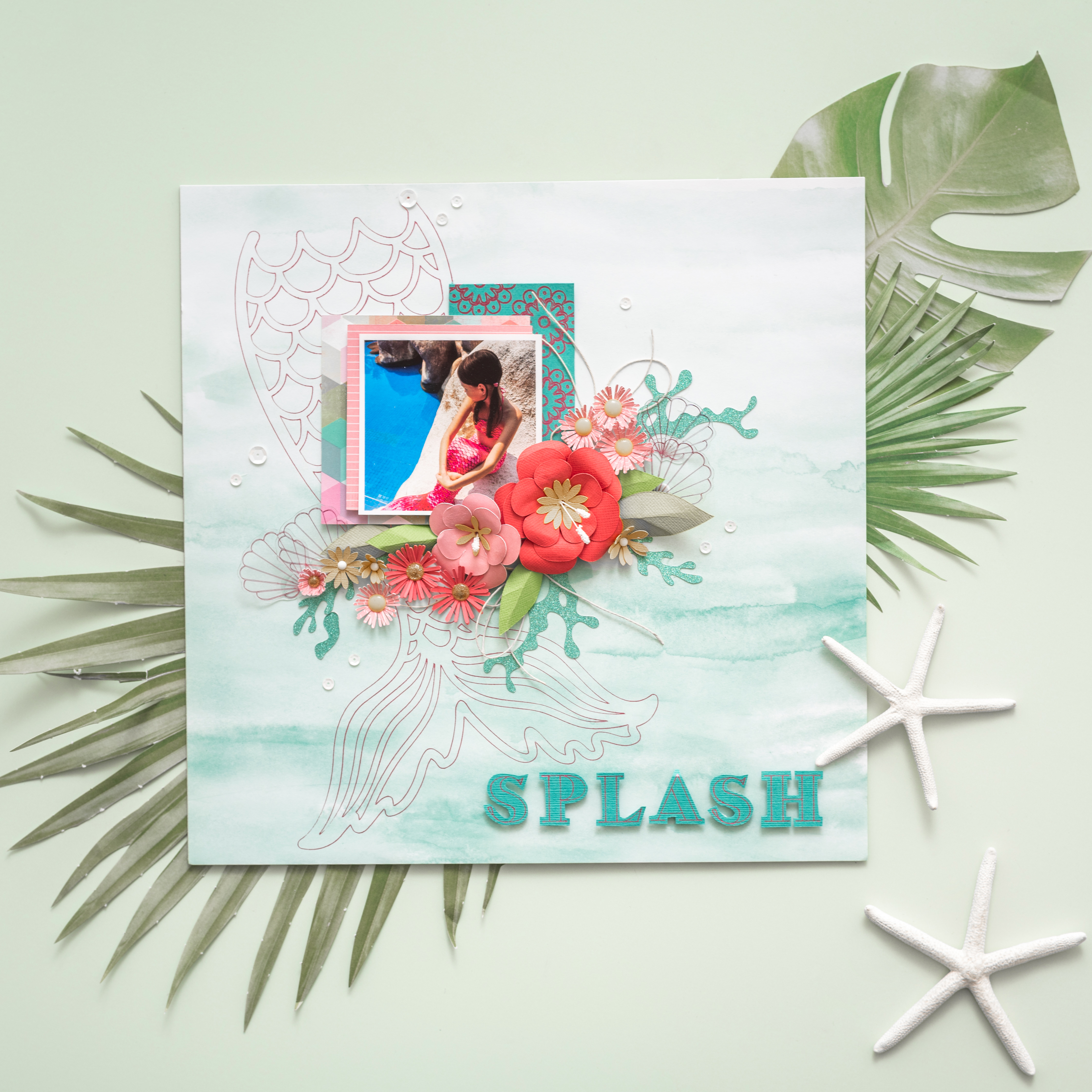 Foiled Mermaid Scrapbook Page by We R Memory Keepers featuring the Foil Quill