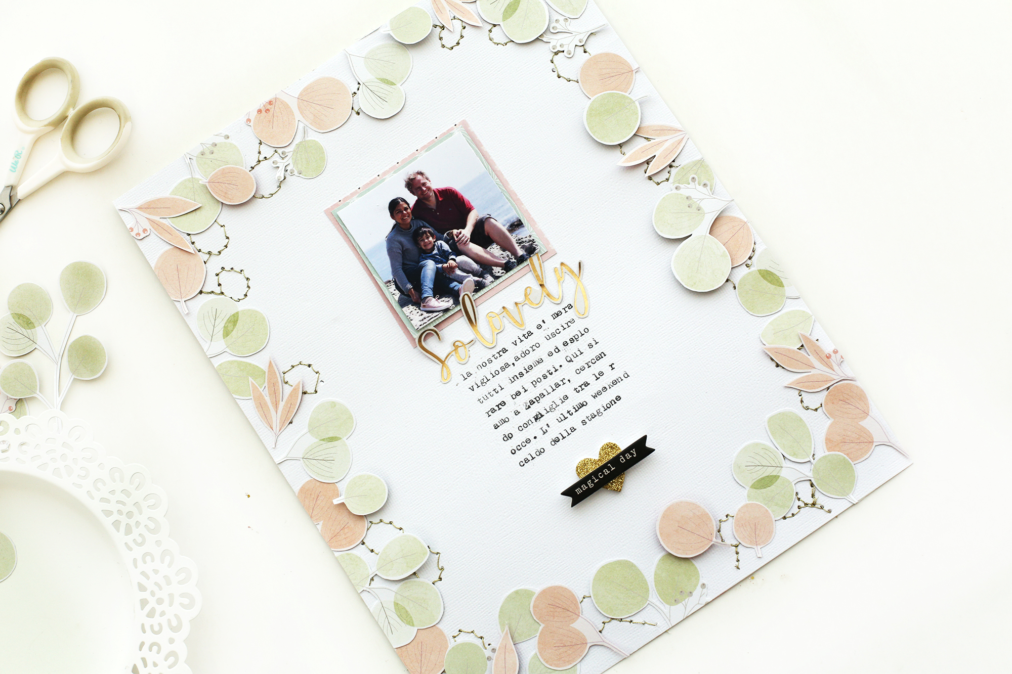 Scrapbook page with the We R Memory Keepers Stitch Happy Pen and the DCWV Inc Subtle and Sophisticated Stack