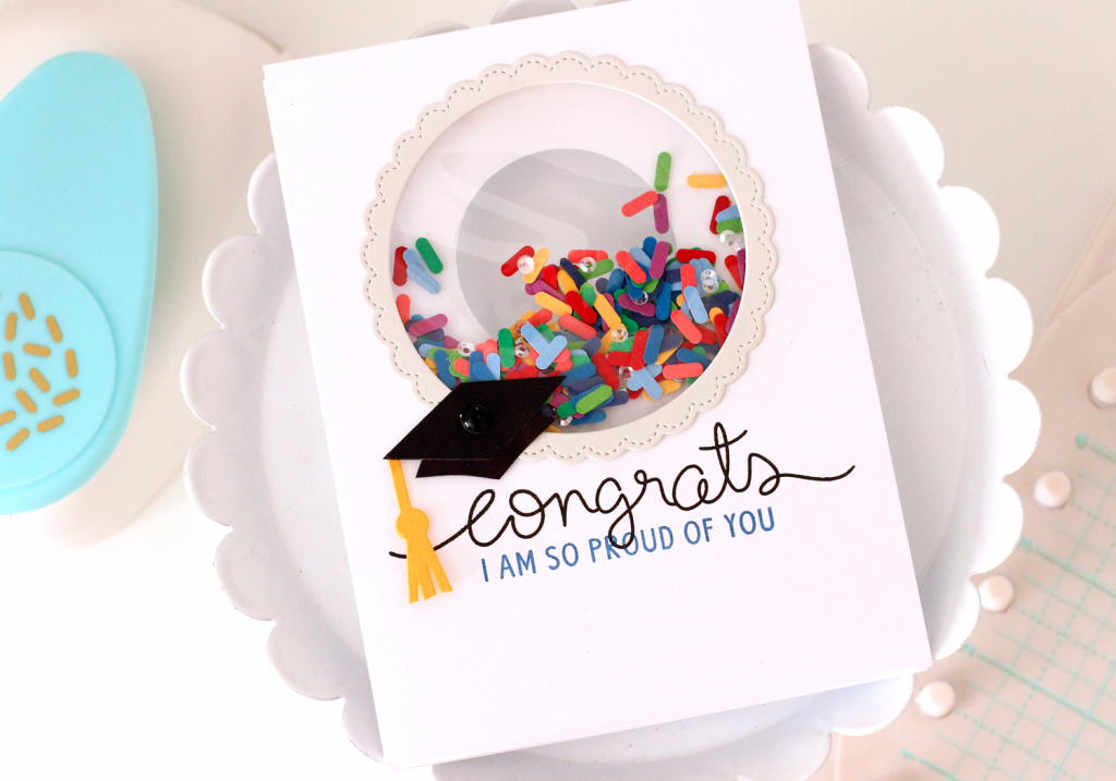 Graduation Shaker Card with the Fuse Tool, the Circle Clear Cut Punch and the Sprinkle Punch by We R Memory Keepers