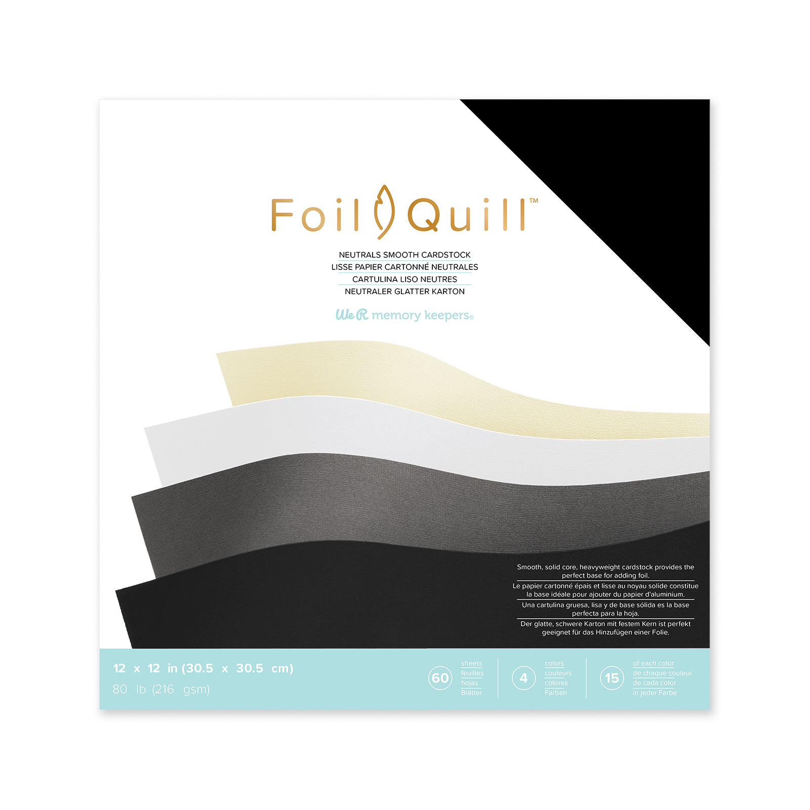 Foil Quill Smooth 12x12 Cardstock in Neutrals by We R Memory Keepers
