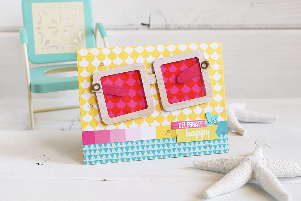 Beach Themed Handmade Card featuring the Frame Punch Board by We R Memory Keepers