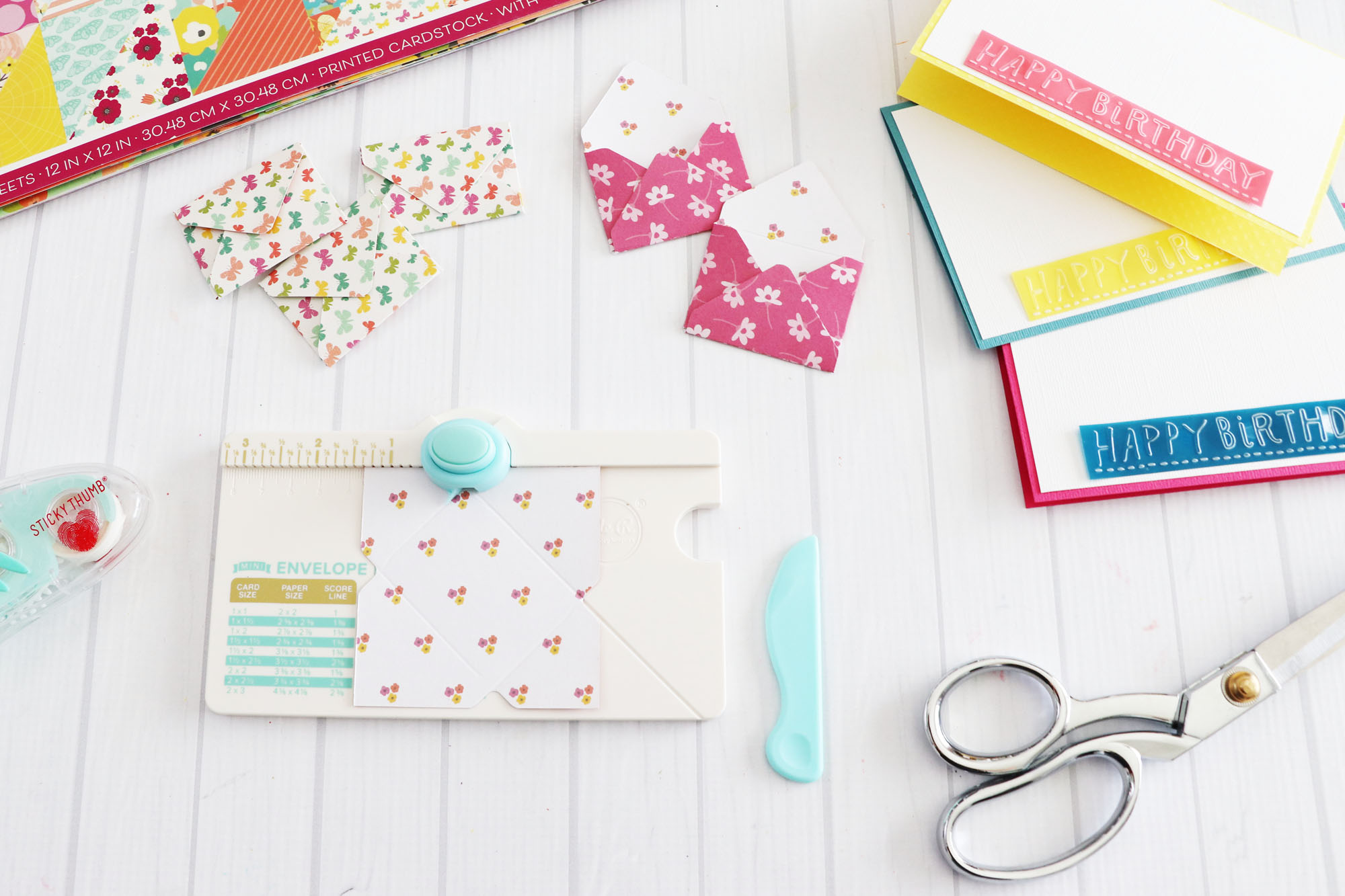 Mini Envelope Birthday Cards by Laura Silva for We R Memory Keepers