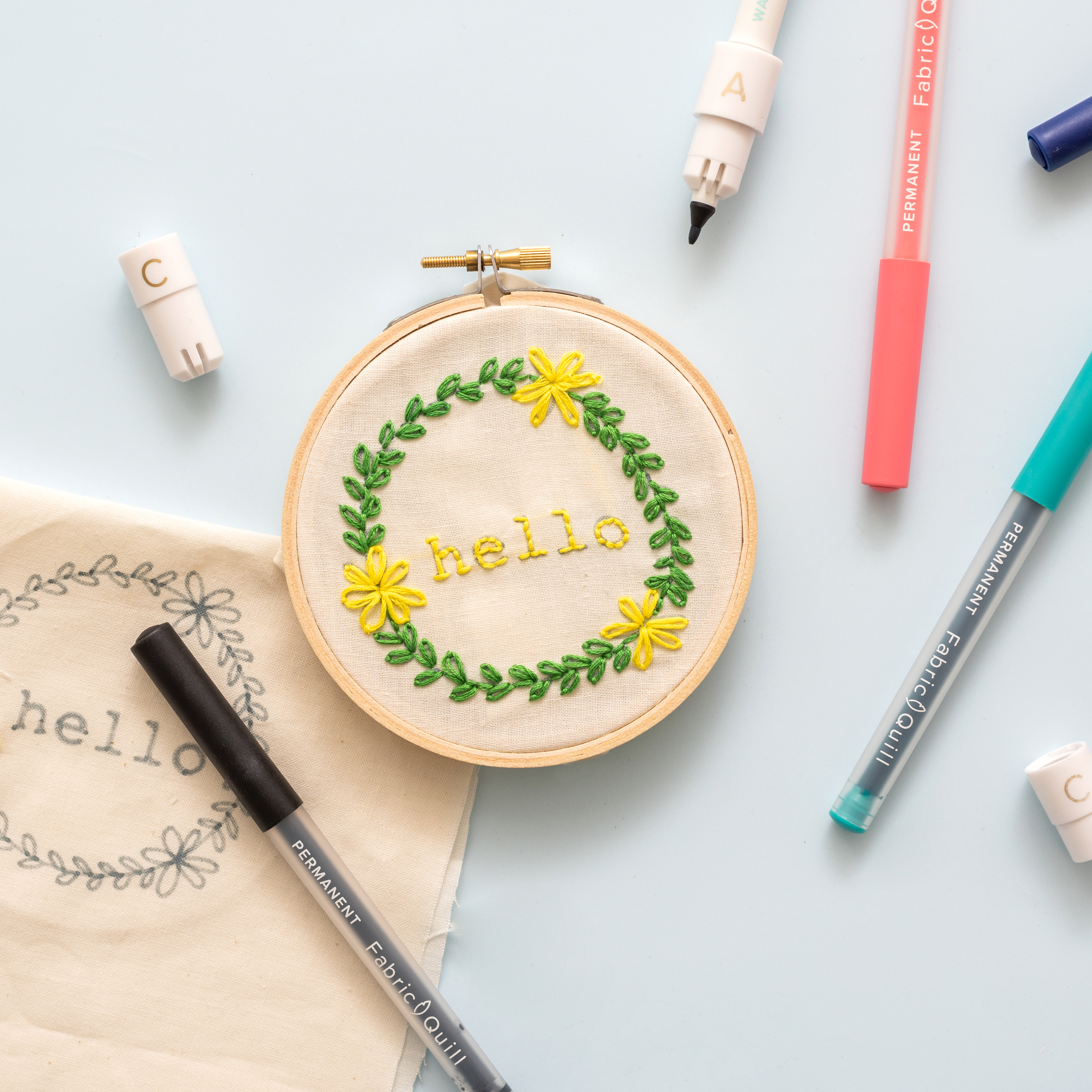 Custom Embroidery Hoop with the Fabric Quill