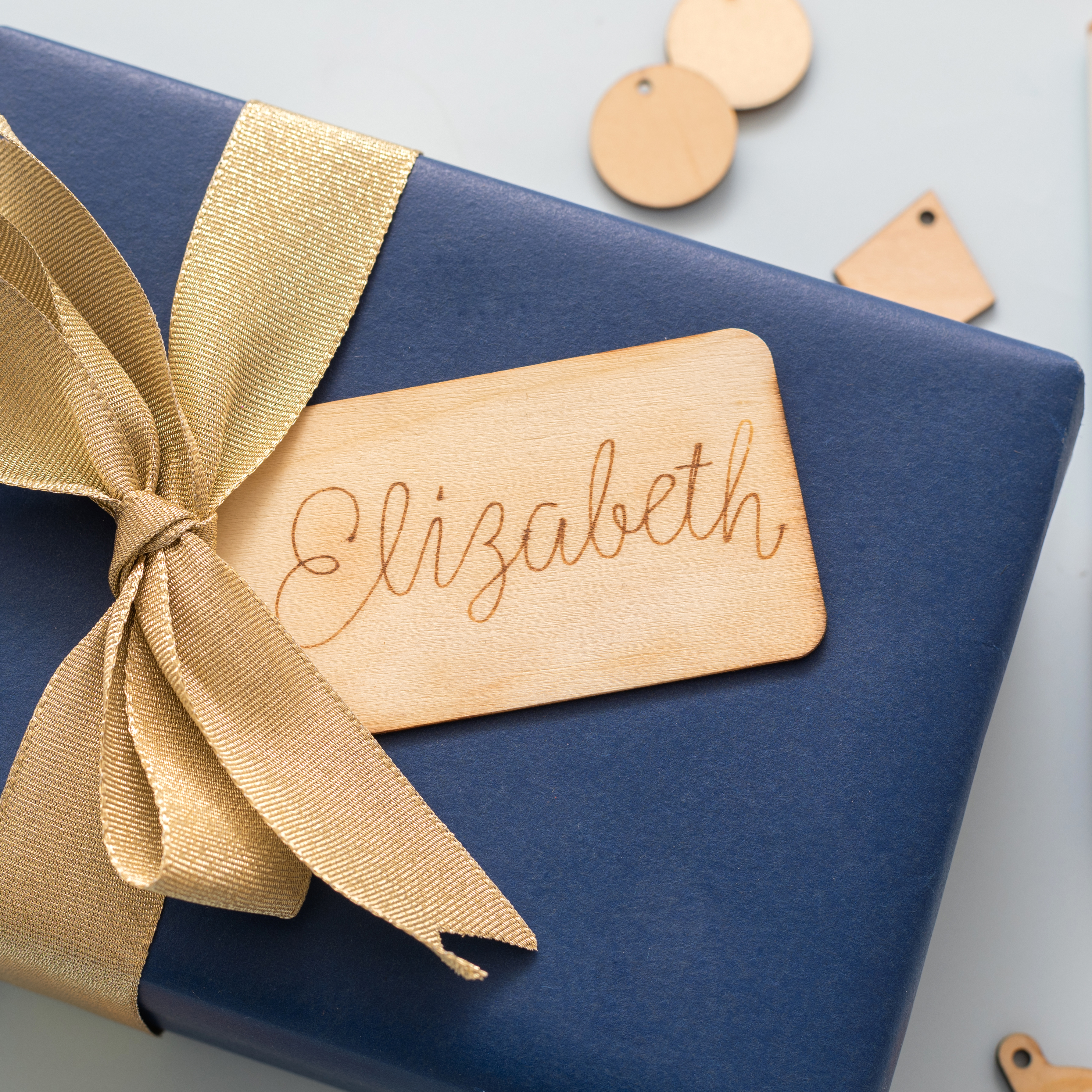 Custom Wood Gift Tag with the Singe Quill