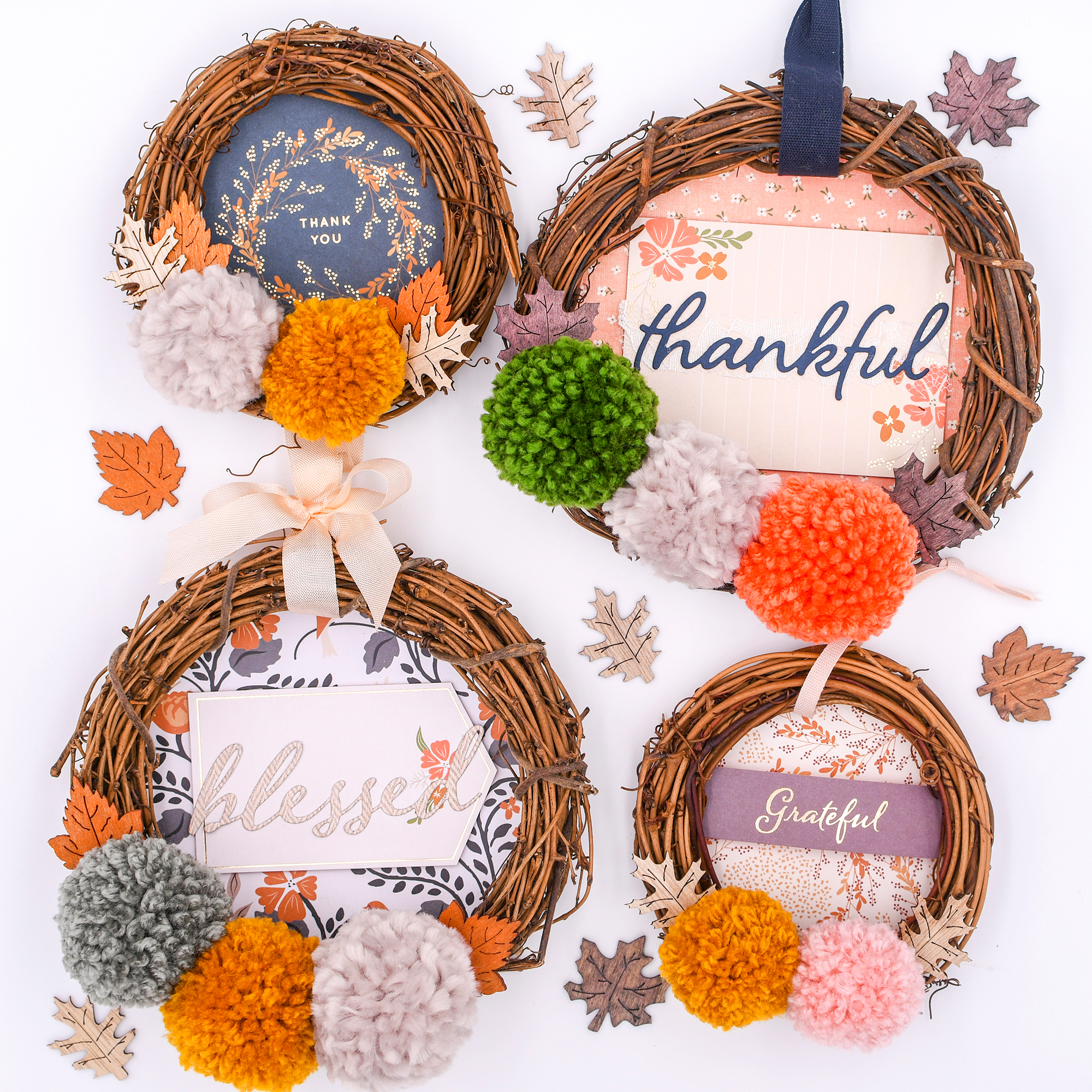 Mini Grapevine Pom Pom Wreaths for Thanksgiving by Rebecca Lumiarias for We R Memory Keepers