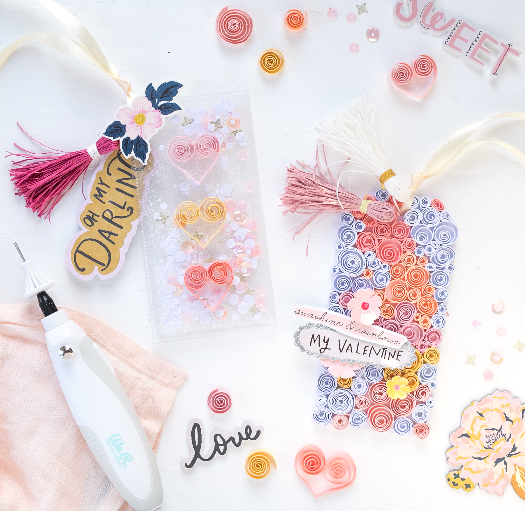 Valentine's Day Tags with the Spinning Tool by Steffi Ried for We R Memory Keepers