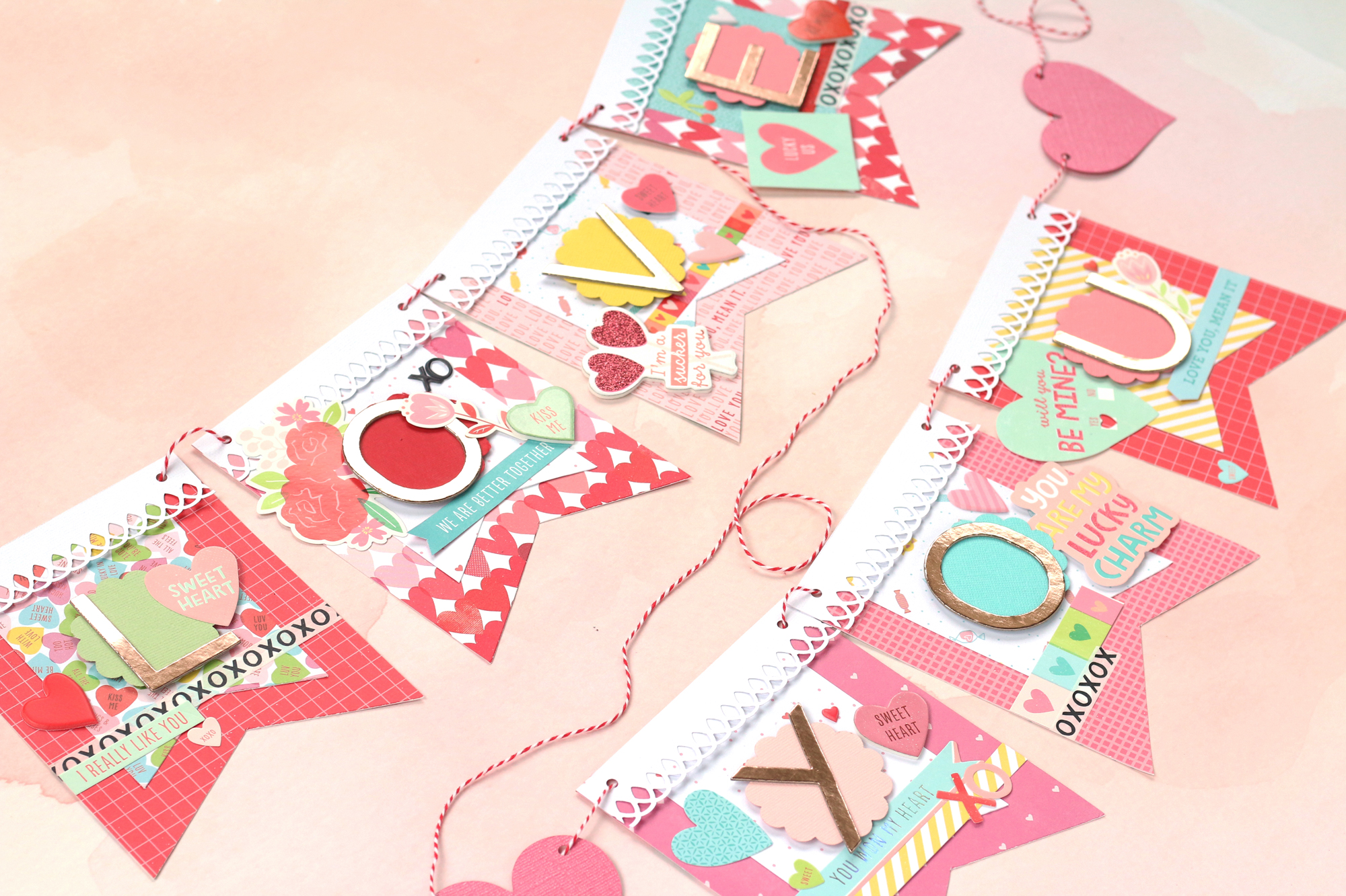 Valentine's Day Banner with the Banner Punch Board by Meghann Andrew for We R Memory Keepers