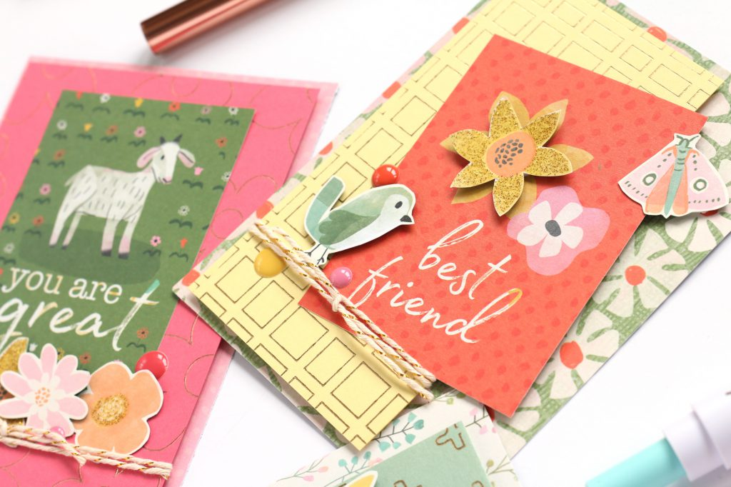 Make foil card backgrounds with the Foil Quill by We R Memory Keepers. Project by Meghann Andrews for We R Memory Keepers.