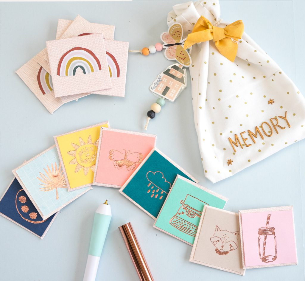 Make a DIY Memory Card Game with the Foil Quill Freestyle Pens by We R Memory Keepers.